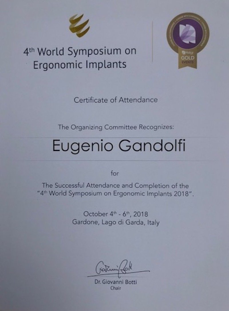 4th World Symposium on Ergonomic implants 1 - Dr. Eugenio Gandolfi